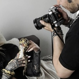 The artist and his muse playing with Odin the python  models : @garance_delacour and @kevinpugliese  photohrapher : @xvsty